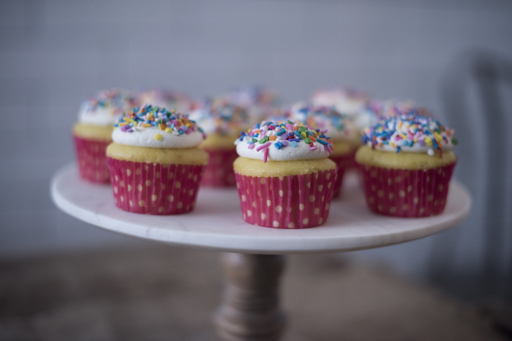 Vanilla Cupcakes with Cream Cheese Frosting & Sprinkles The Foodie Chef
